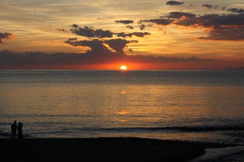 11月最初の当館玄関前から見た夕陽です